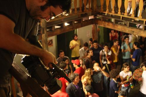 Otávio Pacheco na gravação do clipe do Snorks
